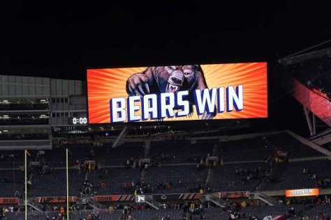 CHICAGO, IL - NOVEMBER 18: A detailed view of the jumbotron at Soldier Field displaying a Bears Win sign is seen after game action during a NFL game between the Chicago Bears and the Minnesota Vikings on November 18, 2018 at Soldier Field, in Chicago, Illinois. (Photo by Robin Alam/