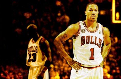 Wallpaper of Derrick Rose with Michael Jordan in the background